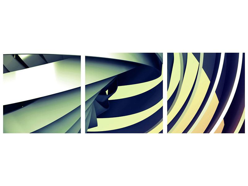 Panoramic 3 Piece Acrylic Print Abstract Perspectives