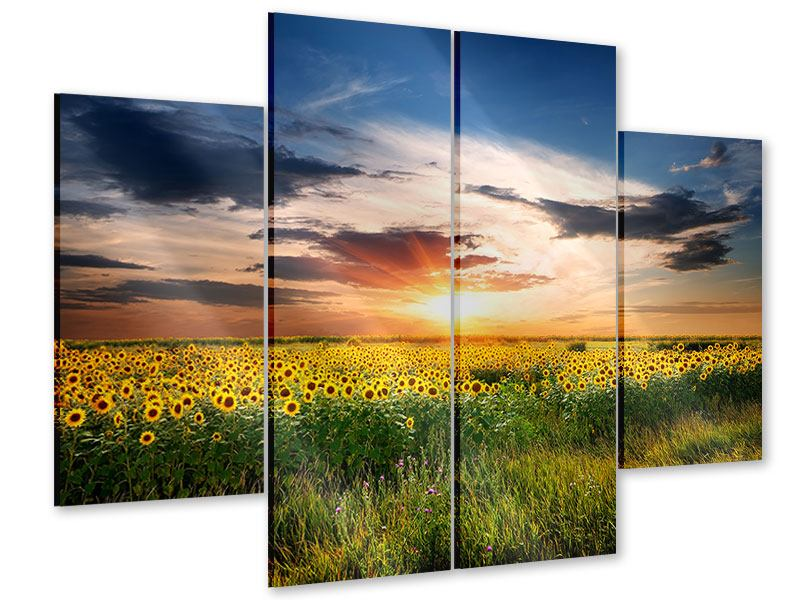4 Piece Acrylic Print A Field Of Sunflowers