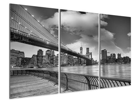 3 Piece Aluminium Print Skyline Black And White Photography Brooklyn Bridge NY