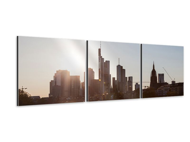 Panoramic 3 Piece Aluminium Print Skyline Sunrise In Frankfurt