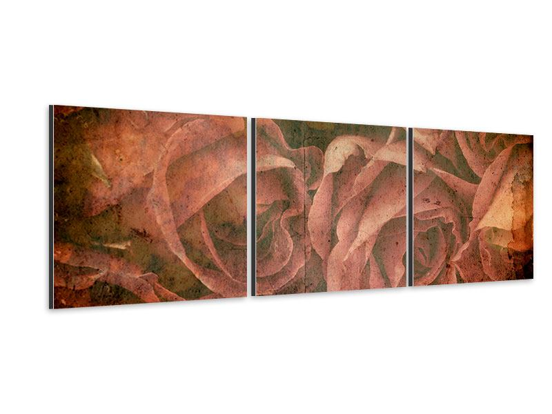 Panoramic 3 Piece Aluminium Print Rose Bouquet