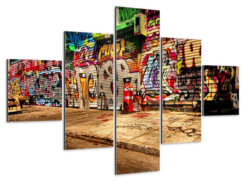 Tableau Aluminium en 5 parties Graffiti à NY