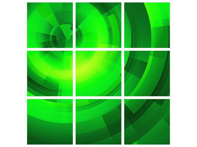 9 Piece Aluminium Print Perspectives In Green