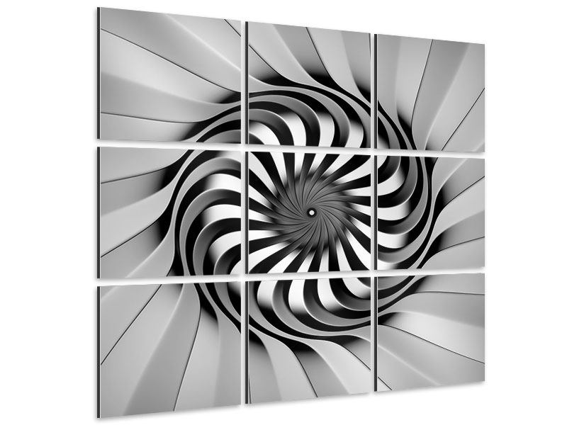 9 Piece Aluminium Print Abstract Spiral