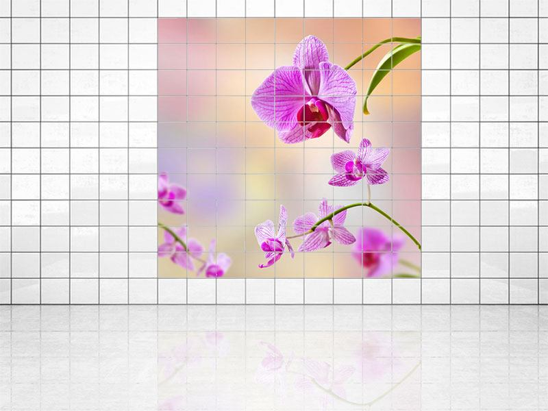 Tile Print Romantic Orchids