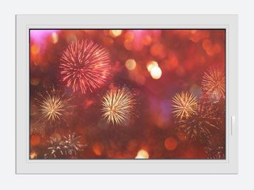 Window Print Colorful Fireworks