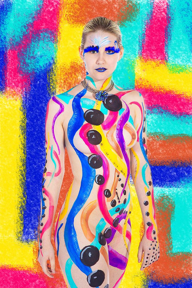 Window Print Colorful Bodypainting