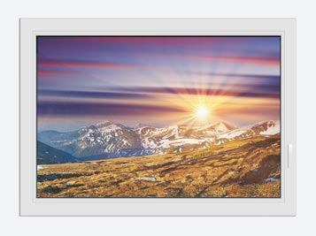 Window Print Majestic Sunset At The Mountain