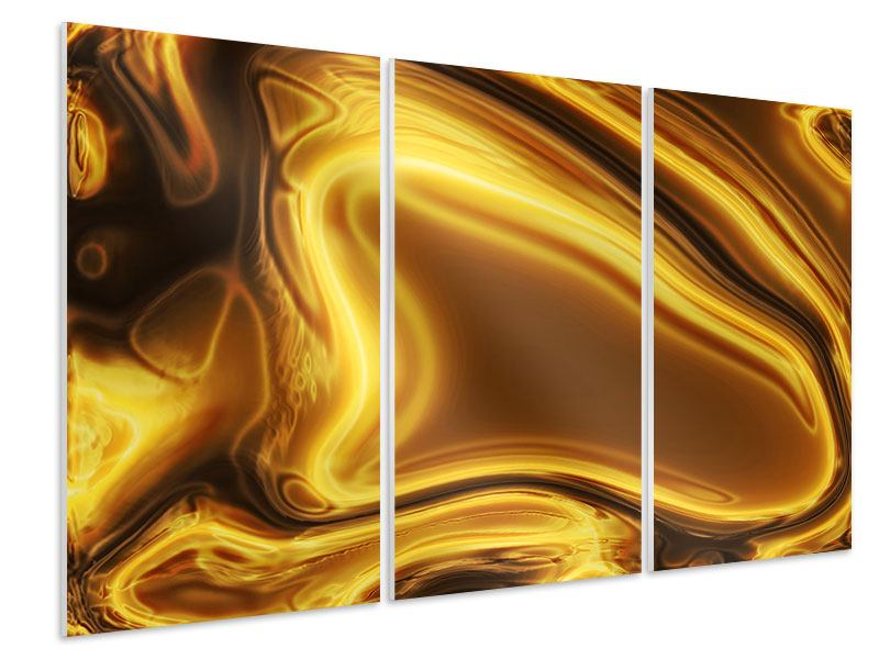 3 Piece Forex Print Abstract Liquid Gold