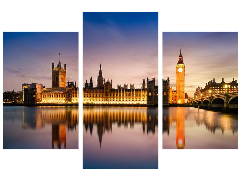 Modern 3 Piece Forex Print Big Ben At Night