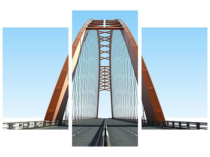 Modern 3 Piece Forex Print Bridge Panorama