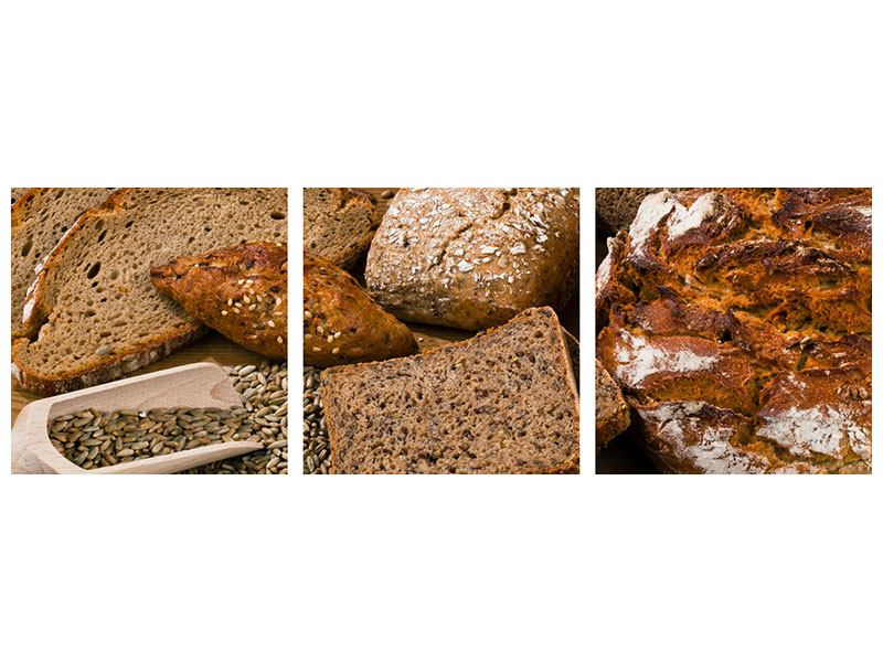Panoramic 3 Piece Self-Adhesive Poster Bread Types