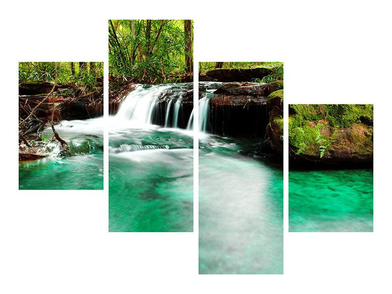 Modern 4 Piece Self-Adhesive Poster The River At Waterfall