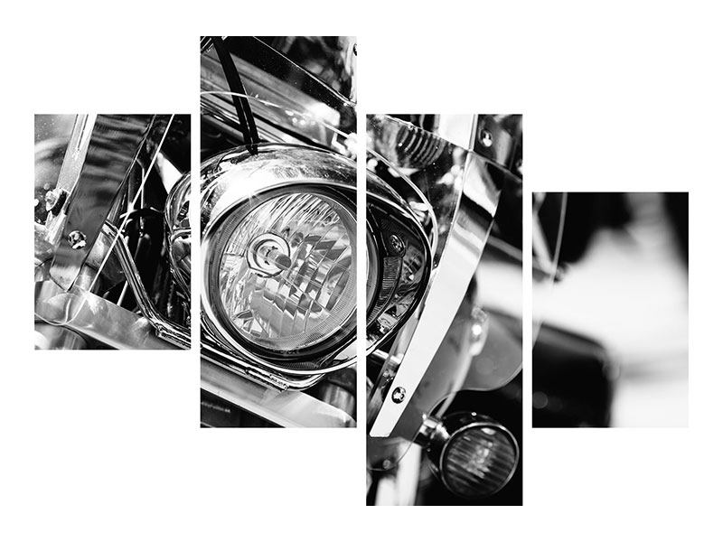 Modern 4 Piece Self-Adhesive Poster Motorcycle Close Up
