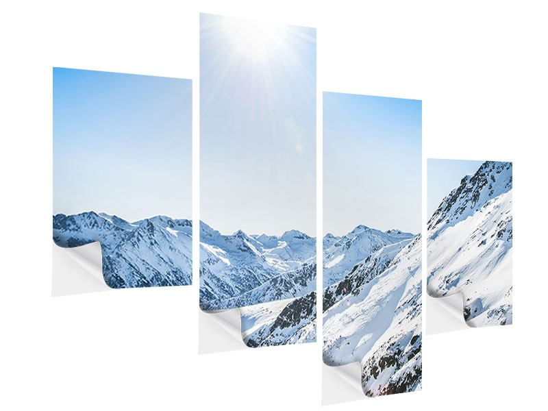 Modern 4 Piece Self-Adhesive Poster Mountain Panorama In Snow