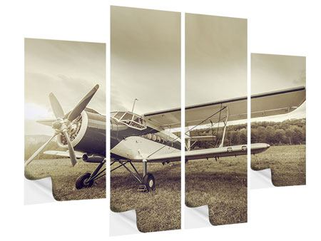 4 Piece Self-Adhesive Poster Nostalgic Aircraft In Retro Style