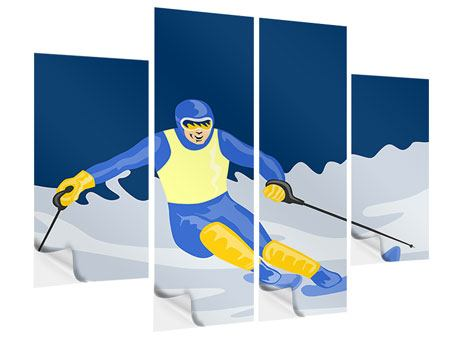 4 Piece Self-Adhesive Poster Skier In Retro Style