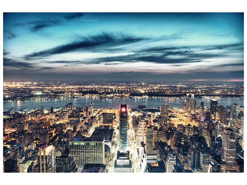 Self-Adhesive Poster Skyline Manhattan City Lights