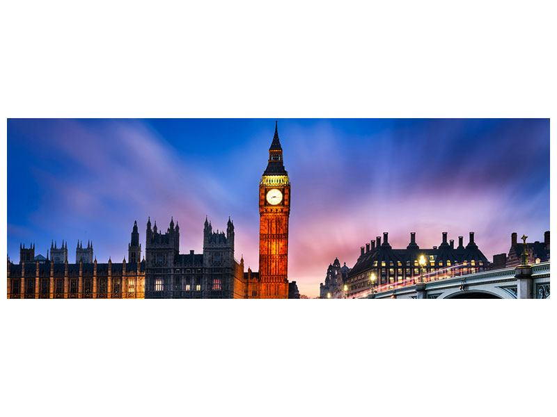 Panoramic Canvas Print At Night On Big Ben