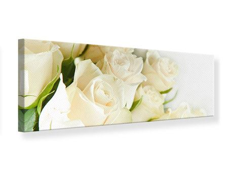 Tableau sur Toile Panoramique Roses blanches