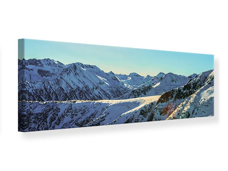 Panoramic Canvas Print Sunny Mountain Peaks In Snow