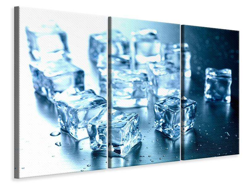 3 Piece Canvas Print Many Ice Cubes