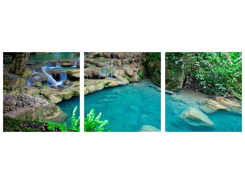Panoramic 3 Piece Canvas Print At The Foot Of Erawan
