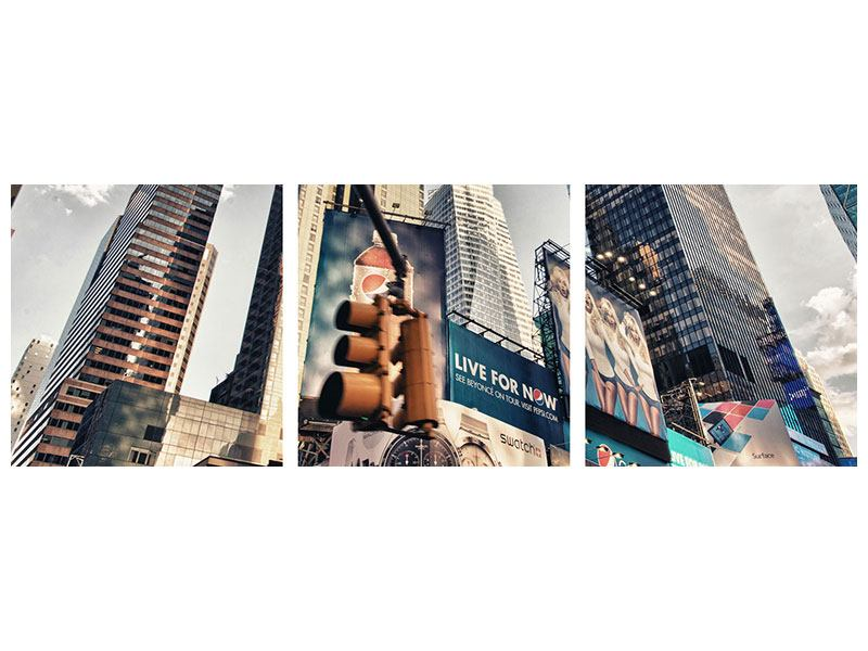 Panoramic 3 Piece Canvas Print Times Square