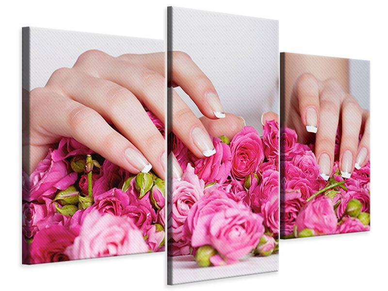 Modern 3 Piece Canvas Print Hands Bed Of Roses
