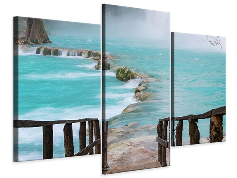 Modern 3 Piece Canvas Print House At Waterfall