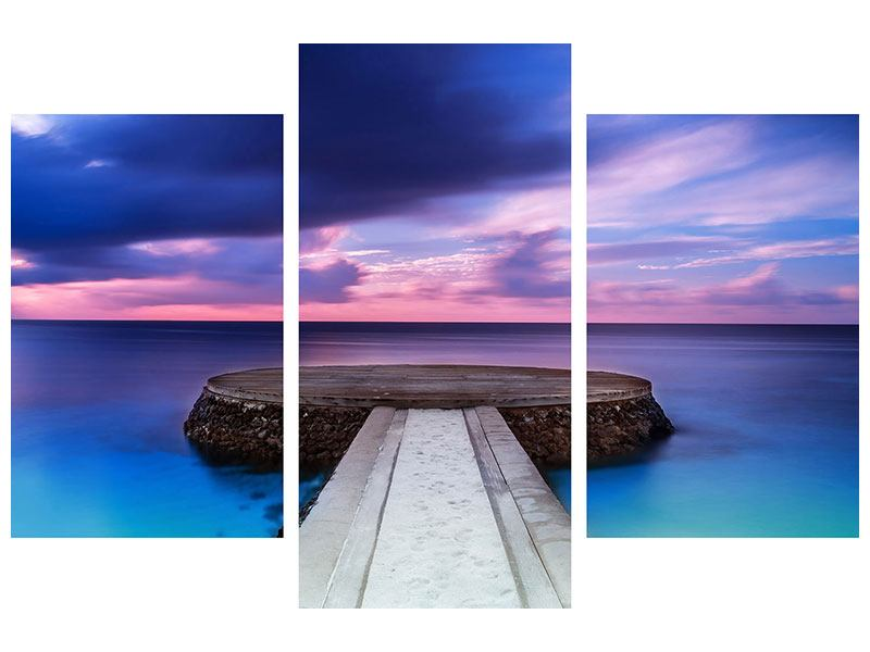 Modern 3 Piece Canvas Print Meditation By The Sea