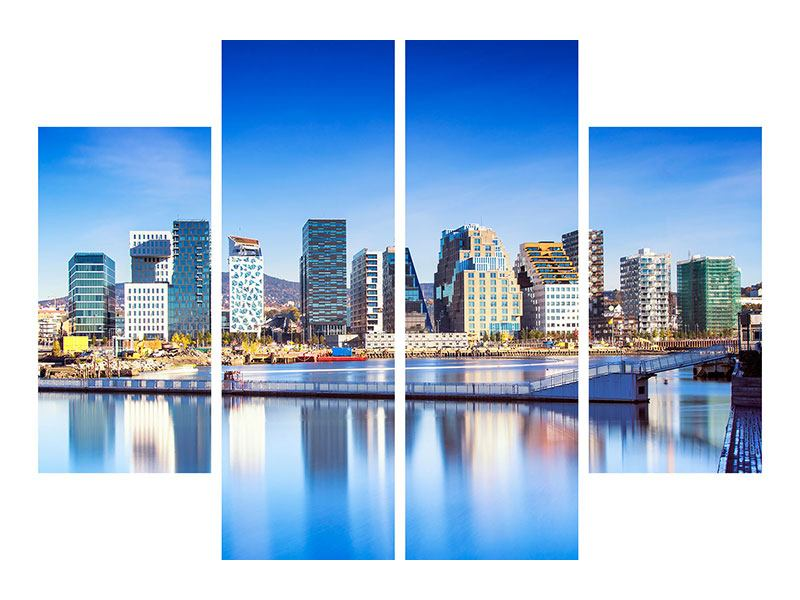 4 Piece Canvas Print Skyline Oslo