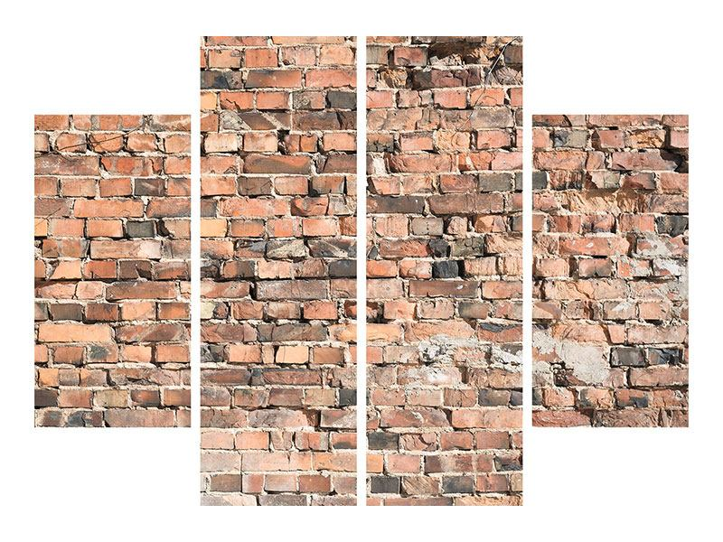 4 Piece Canvas Print Old Brick Wall