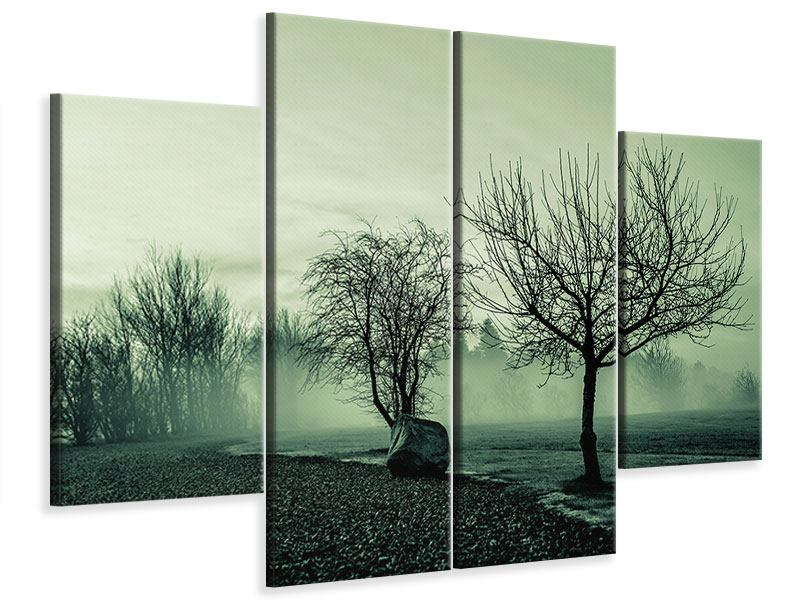4 Piece Canvas Print Alluvial Forest In The Fog