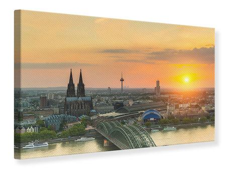 Canvas Print Skyline Cologne At Sunset