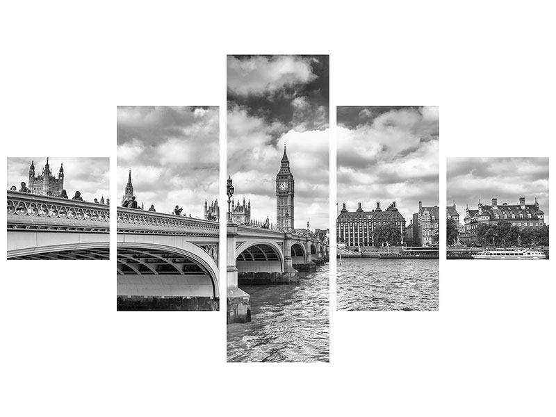 5 Piece Canvas Print Westminster Bridge