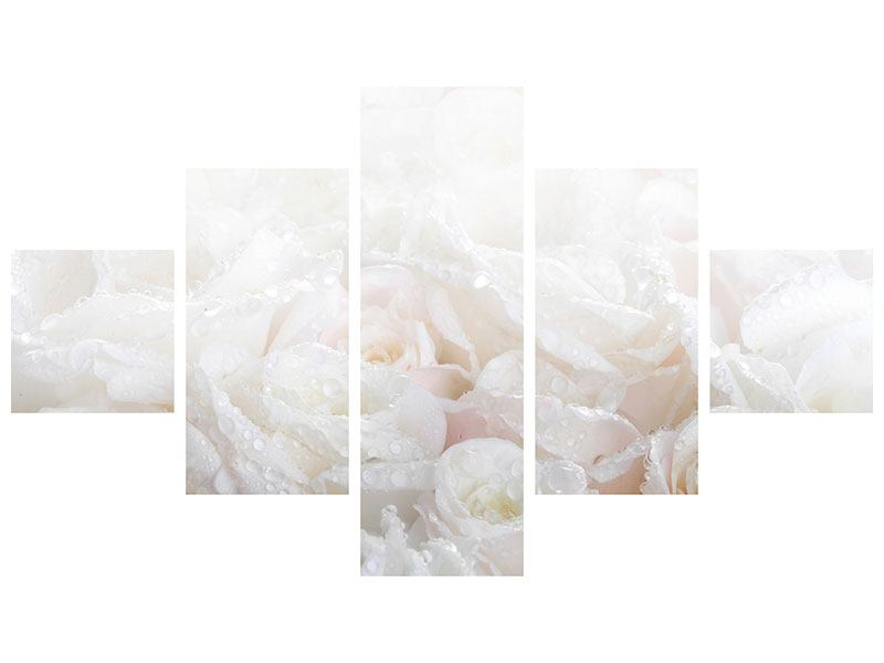 5 Piece Canvas Print White Roses In The Morning Dew