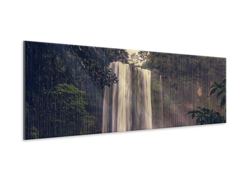 Panoramic Metallic Print Waterfall In Mexico