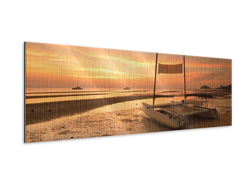 Panoramic Metallic Print Sunset On The Beach
