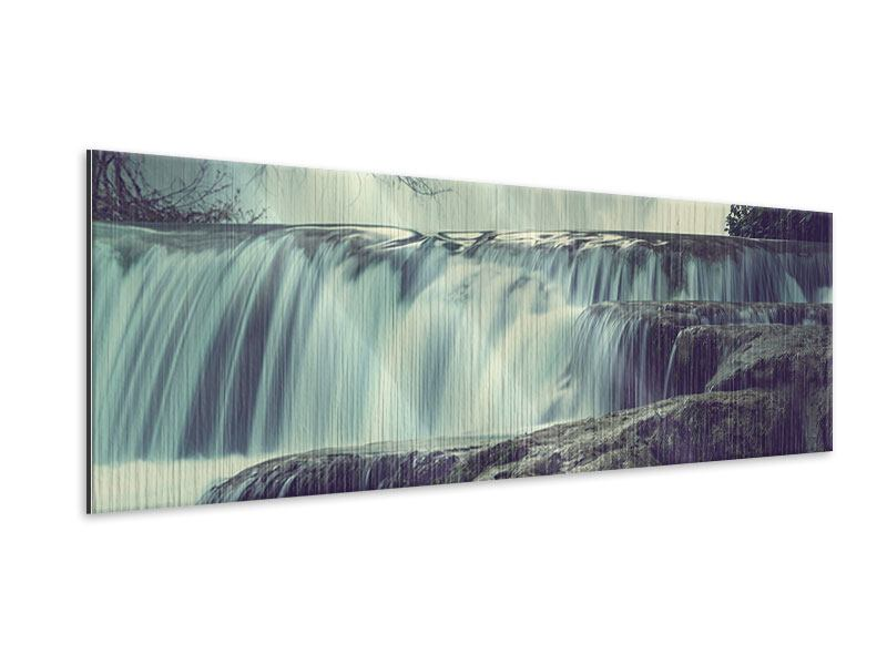 Panoramic Metallic Print Waterfall Mexico