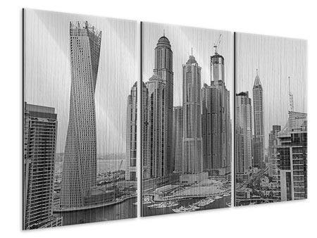 3 Piece Metallic Print Majestic Skyscrapers In Dubai