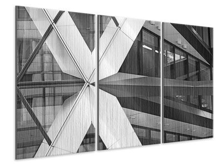 3 Piece Metallic Print Part Of A Skyscraper