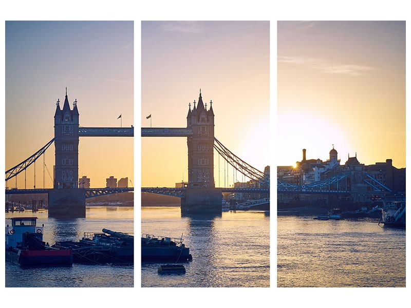 3 Piece Metallic Print Tower Bridge At Sunset