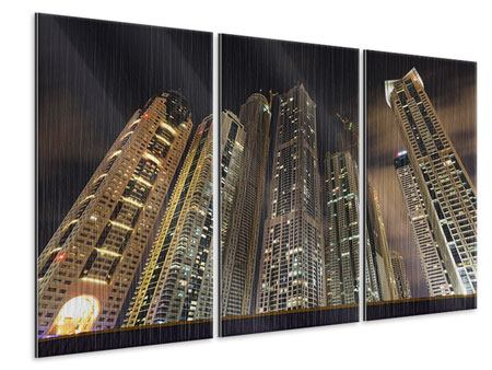 3 Piece Metallic Print Skyscrapers Dubai Marina