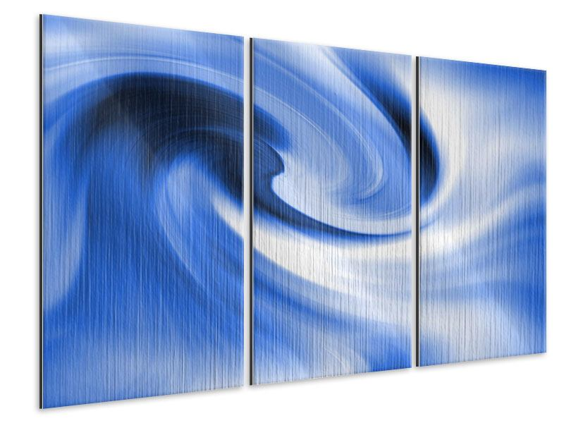 3 Piece Metallic Print Abstract Blue Wave