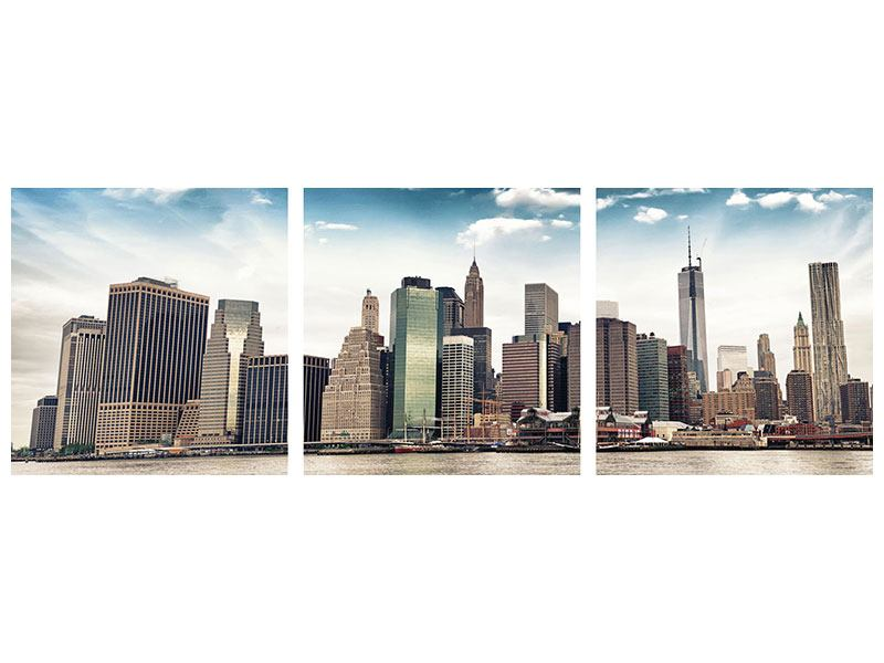 Panoramic 3 Piece Metallic Print NYC From The Other Side