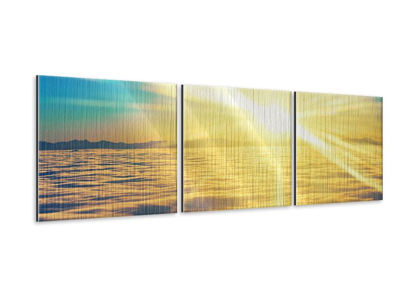 Panoramic 3 Piece Metallic Print Sunset Above The Clouds