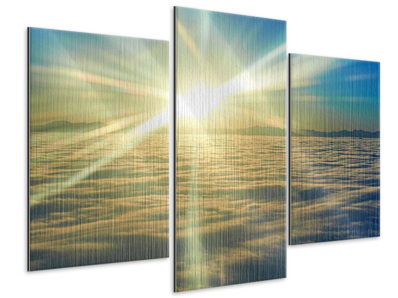 Modern 3 Piece Metallic Print Sunrise Above The Clouds