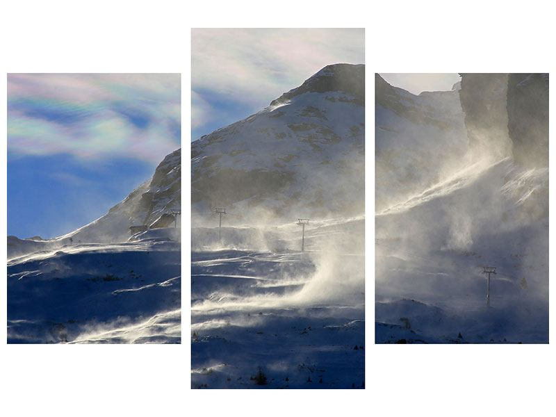 Modern 3 Piece Metallic Print Snowdrifts In The Mountains