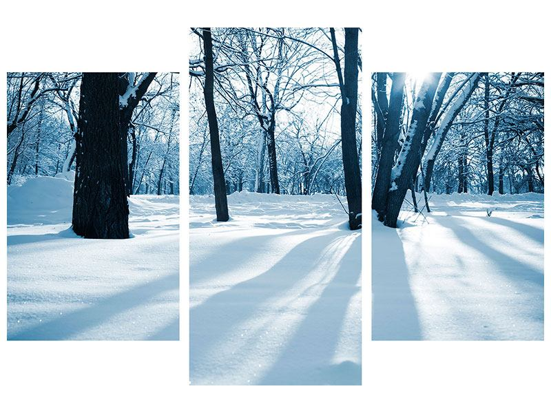 Modern 3 Piece Metallic Print The Forest Without Tracks In The Snow